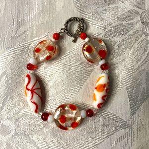 Crimson glass bracelet